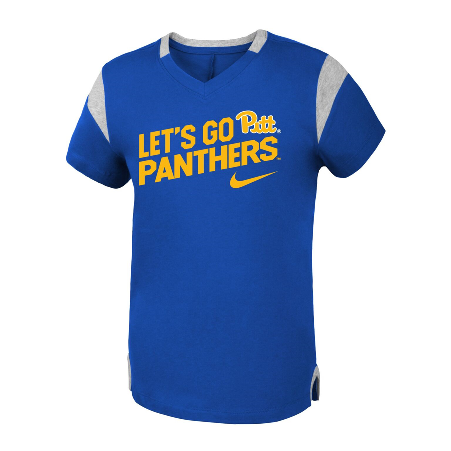 Nike Girl s Pitt Panthers Fan V-Neck T-Shirt fd3ca0b39