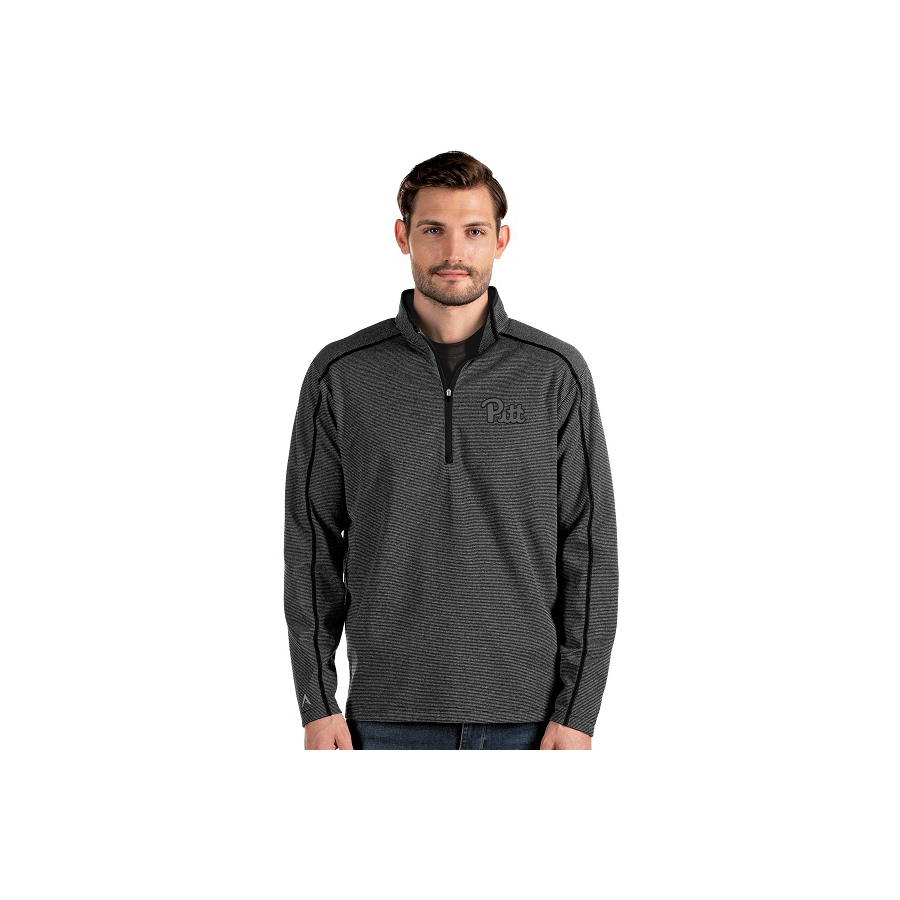 Image For Antigua Men's Brawn 1/4 Zip - Gray/Black