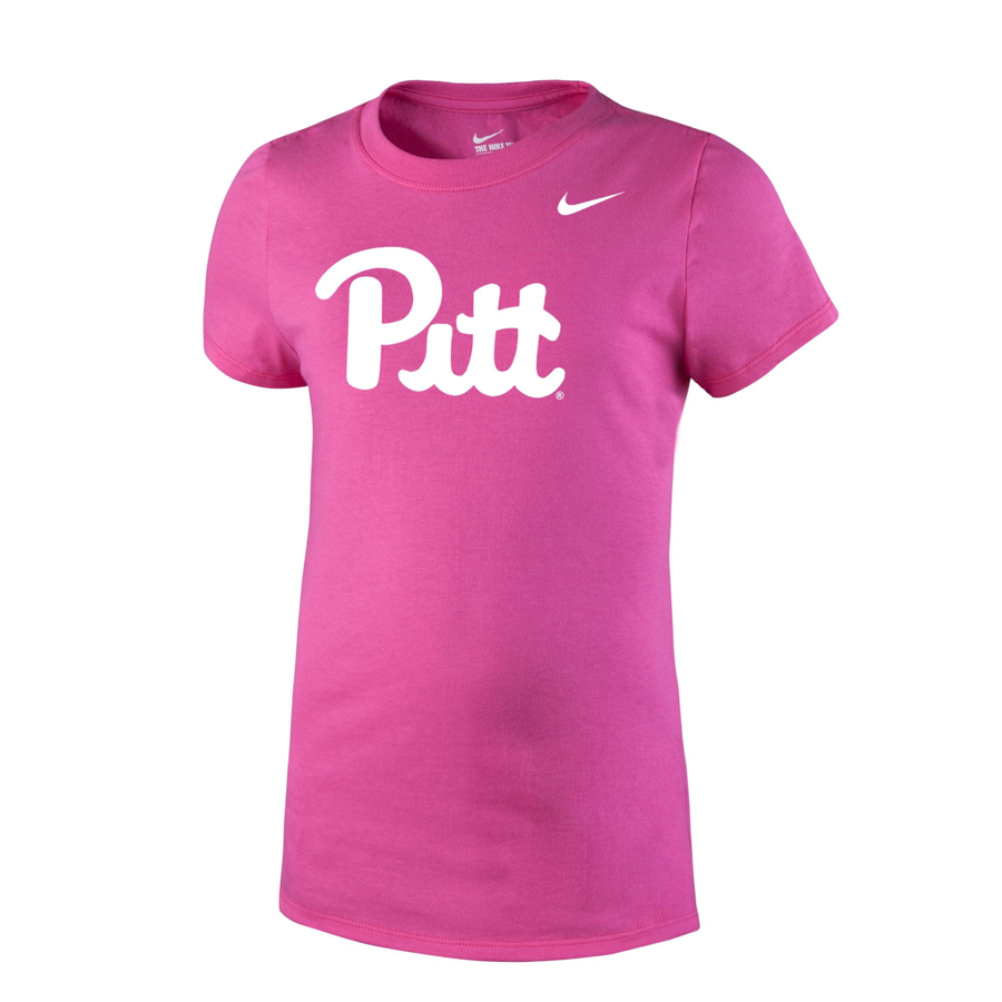 5fde8616 Image For Nike Girl's Pitt Script Core Cotton T-Shirt - Pink