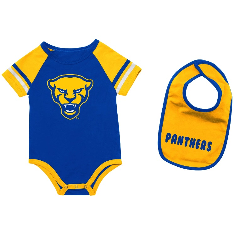 Image For Colosseum Infant Panther Head Onsie with Panthers Bib-Royal