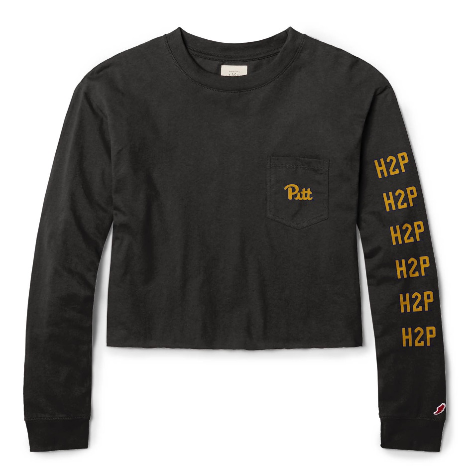 Image For League Women's Long Sleeve H2P Crop Top Clothesline- Black