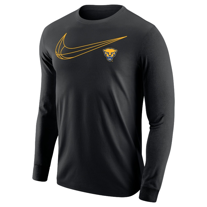 Image For Nike Long Sleeve Shirt Panther Head Swoosh - Black