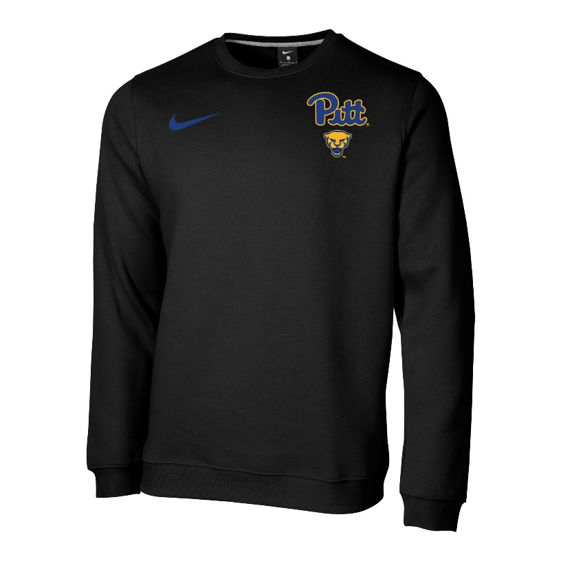 Image For Nike Crew Club Fleece Men's Pitt Script/Panther Head - Black