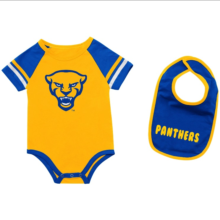 Image For Colosseum Infant Panther Head Onsie with Panthers Bib - Gold