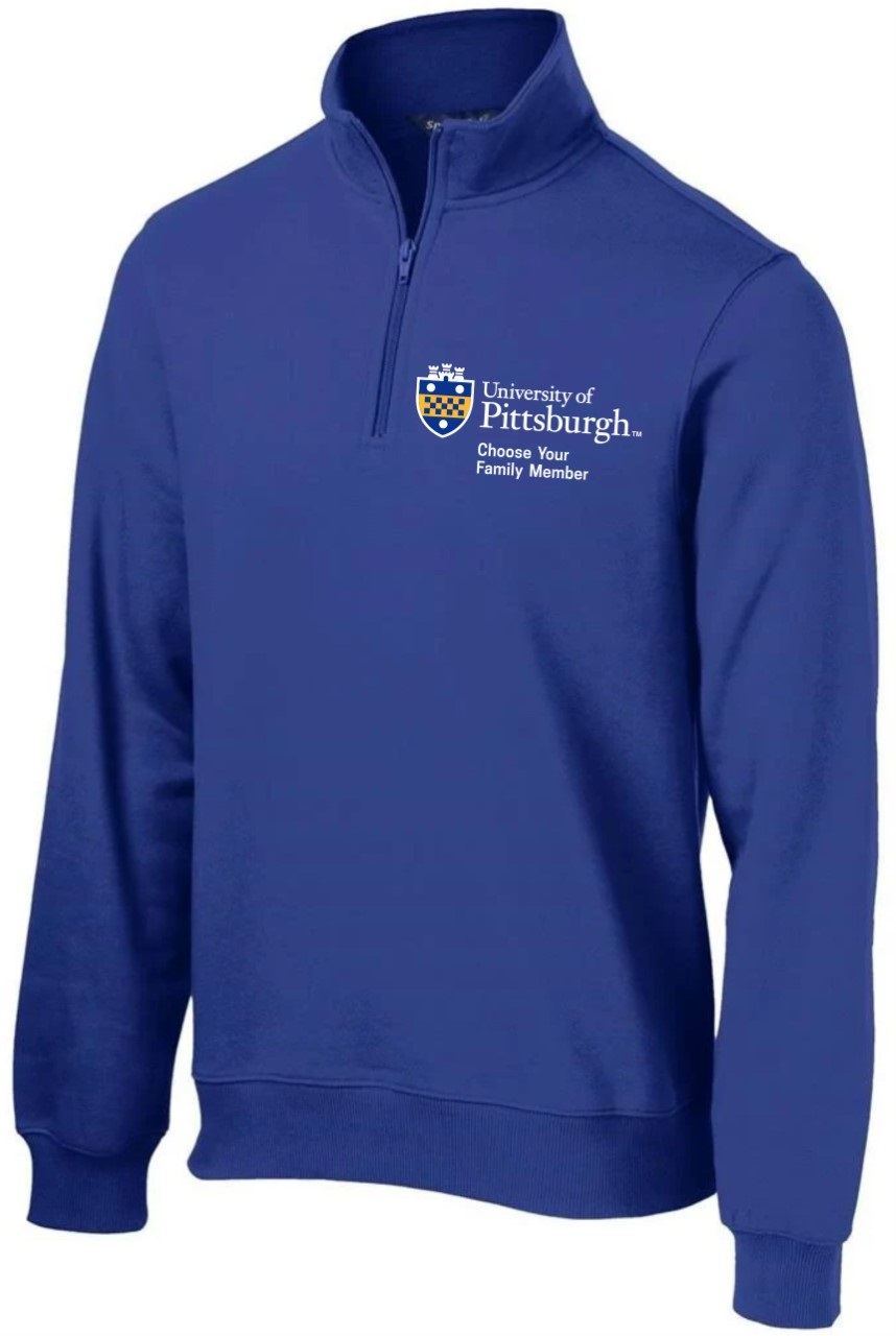 "Cover Image For Pitt Family ""Choose Your Family"" 1/4 Zip Royal"